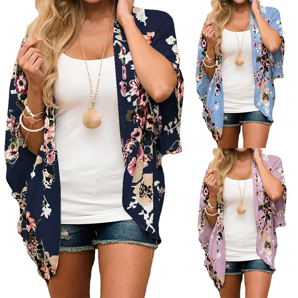 FEITONG Women Chiffon Floral Kimono Loose Half Sleeve Shawl Print Cardigan blusas mujer de moda #20181013 plus size(China)