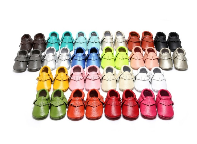 28colors Genuine Leather Baby Moccasins shoes Soft Moccs Baby Shoes Newborn Baby first walkers Anti-slip Infant Bebe Shoes