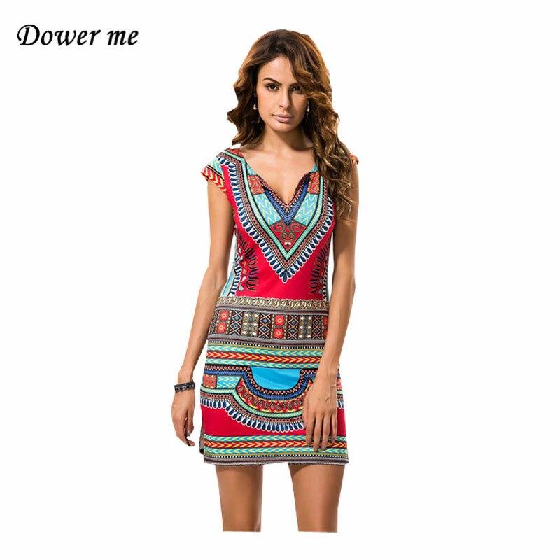 Инди-фолк-Дашики Для женщин мини-платье vestidos Sexy v-образным вырезом дамы в африканском стиле Платья для женщин женские летние пляжные платья ...
