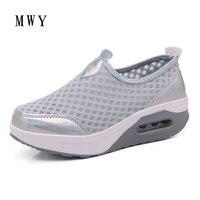 MWY פלטפורמת רשת לנשימה Evelator הדפס פרחוני אופנה נשים נעלי טריז עקבים גבוהים נעליים מזדמנים 5 ס