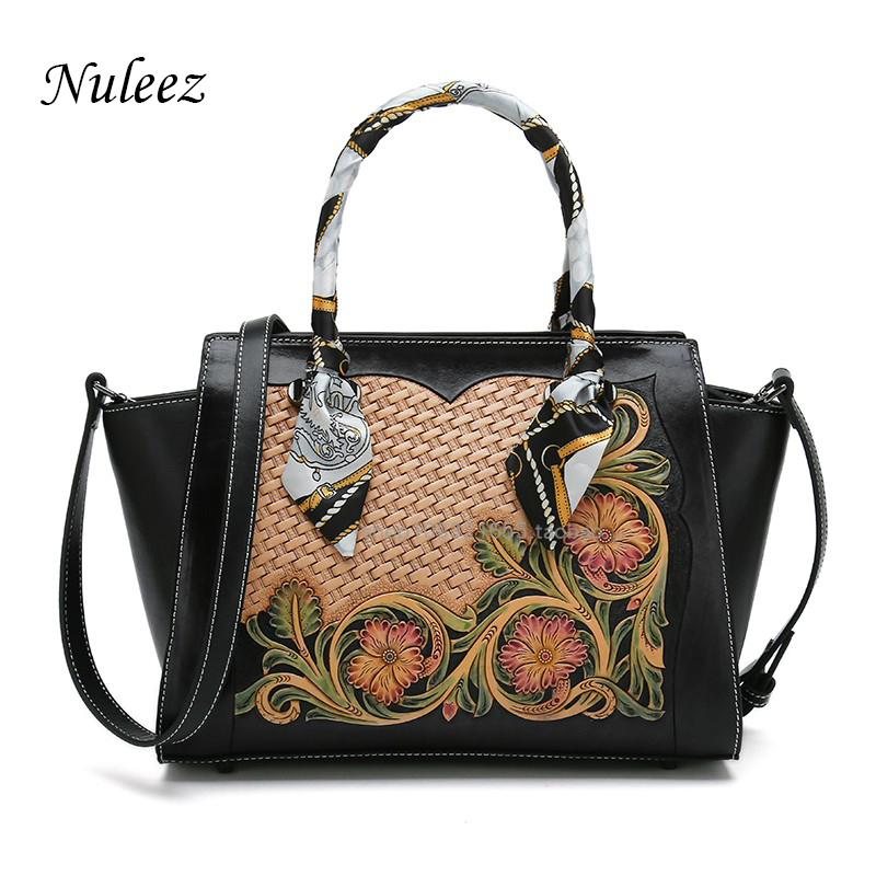 Nuleez big totes women genuine cowhide Chinese national Tang grass pattern 3D colorful flora elegant silk decoration fashion
