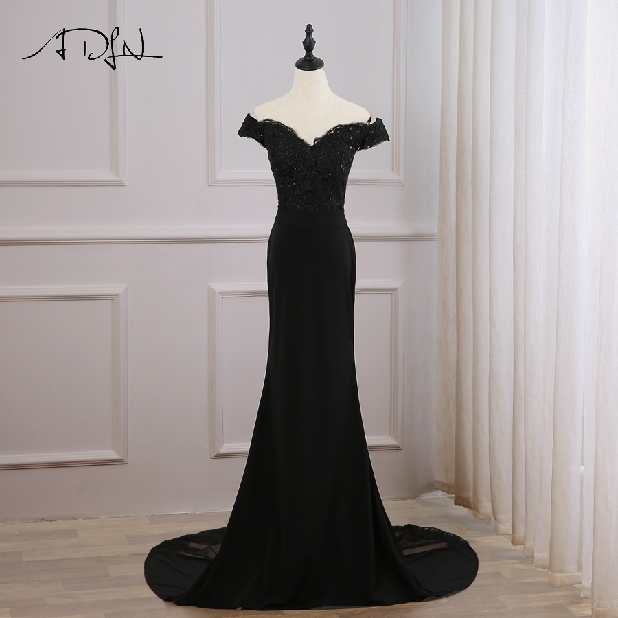 ADLN Sexy Cheap Black Mermaid Evening Dress Off The Shoulder Long Evening Dresses Custom Long Train Party Formal Gowns