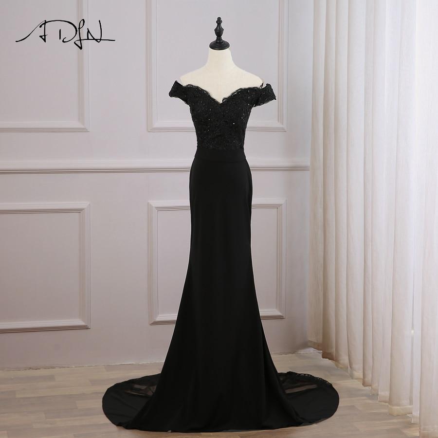 ADLN Sexy Cheap Black Mermaid Evening Dress Off the Shoulder Long Evening Dresses Custom Long Train