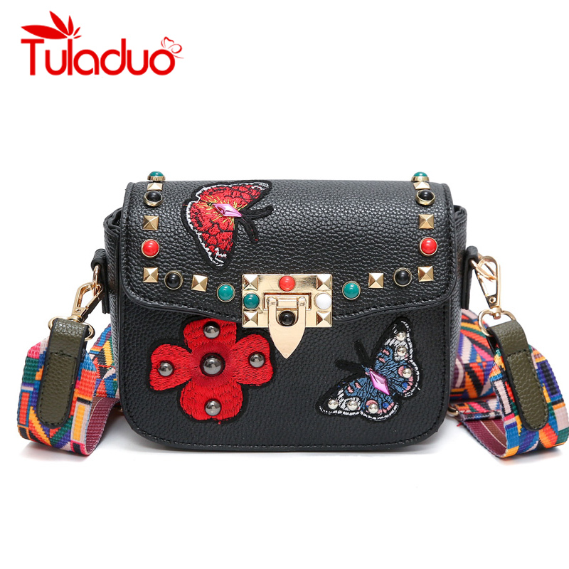 2018 Women Messenger Bags New Luxury Brand Embroidery PU Leather Shoulder Bag Vintage Handbags Saddle Crossbody Bags With Ribbon