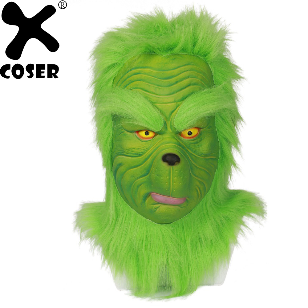 XCOSER Brand Grinch Mask Men Women Green Latex Party Cosplay Mask High Quality With Further Helmet Headgear Christmas Accessory