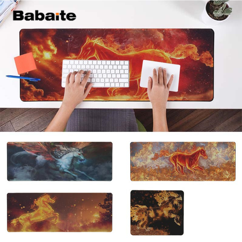 Babaite Hot Sales Cool Fire Horse  Silicone large/small Pad to Mouse Game Free Shipping Large Keyboards Mat