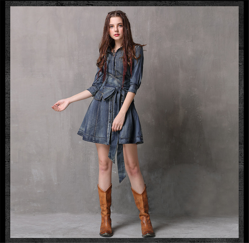 Vintage Summer Sashes Dress 2018 New Denim Three Quarter Sleeve  Dresses Turn-down Collar A-line Single Breasted Vestios (7)
