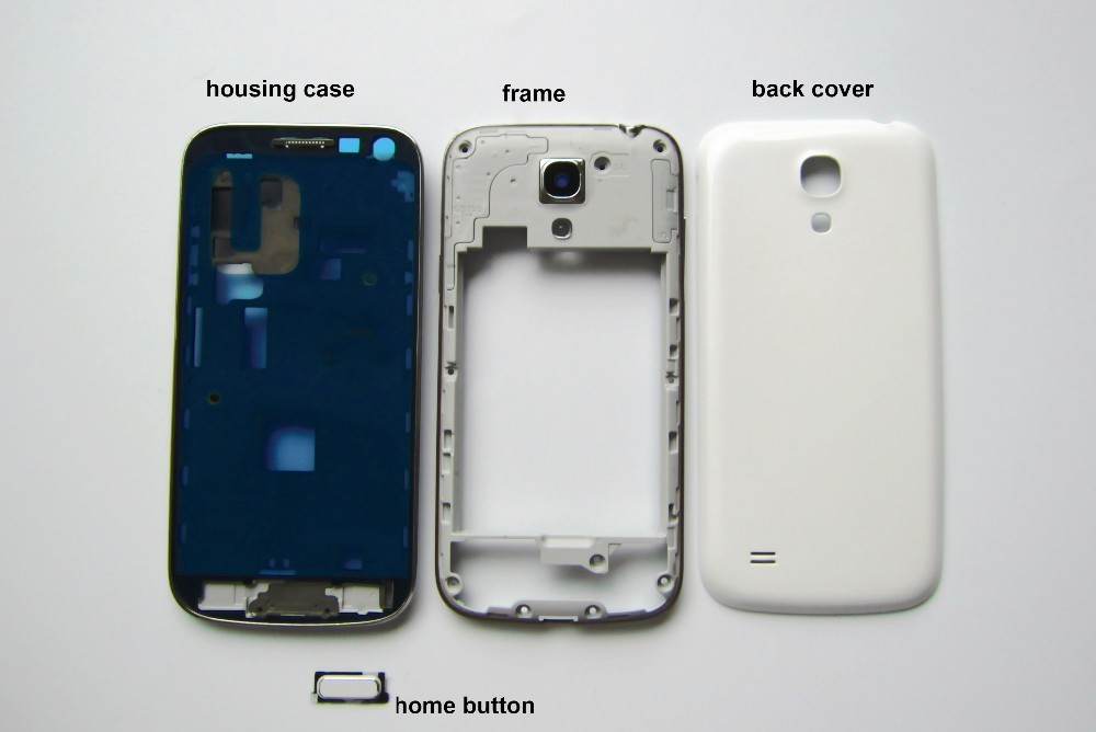 New Full Housing For Samsung Galaxy S4 mini i9190 i9192 i9195 Housing Case + Front Frame + Back Cover + Home Button Repair Parts