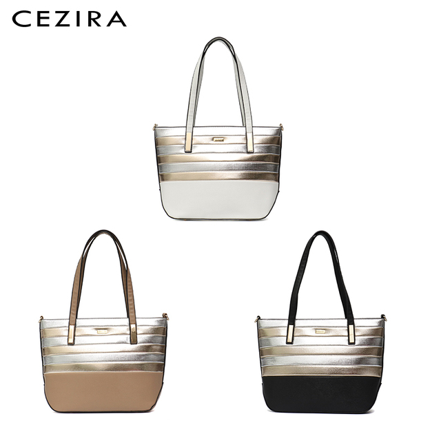 CEZIRA Designer Brand Women Bag Vegan Leather Fashion Tote Bags Female Large Capacity Shoulder Bags for Girls Patchwork Strip 2
