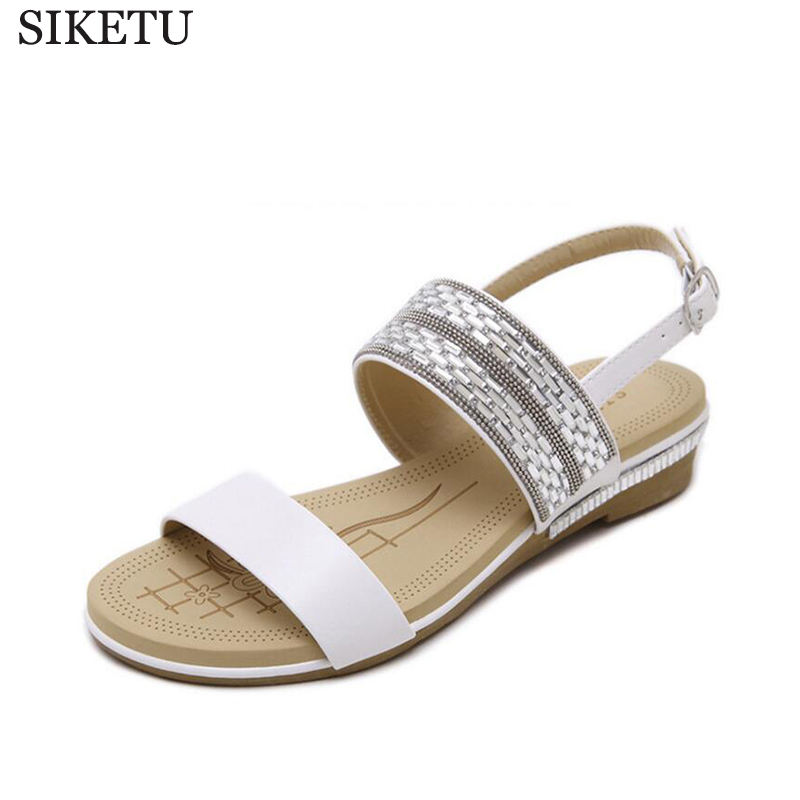 SIKETU Rhinestones Summer shoes sandals women 2017 peep-toe flat Shoes Roman sandals Women shoes sandalias mujer sandalias women shoes summer women sandals 2017 peep toe gold silver roman sandals shoes platform brand creepers woman sandalias size 43