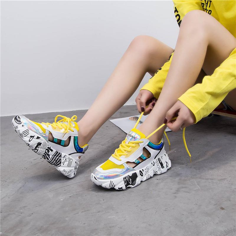 Casual White Shoes Women Chunky Sneakers Platform zapatos de mujer Mesh chaussures femme Ladies footware Patchwork BreathableCasual White Shoes Women Chunky Sneakers Platform zapatos de mujer Mesh chaussures femme Ladies footware Patchwork Breathable