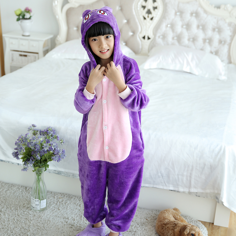 Adorable Purple Cat Kids Kigurumi Pajamas Baby One-Piece Flannel Onesie Cartoon Warm Animal Children Jumpsuit Winter Sleepwear (5)