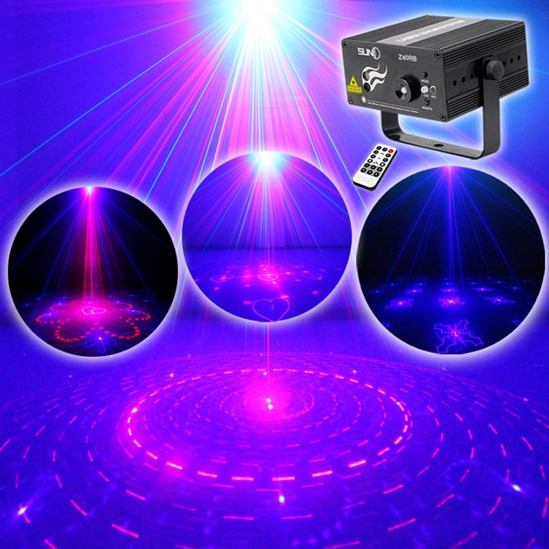 Mini Blue Led Laser Projector Lights With 2 Lens 40 RB Patterns For Family Party Disco KTV Club Remote Control Dj Stage Lighting transctego laser disco light stage led lumiere 48 in 1 rgb projector dj party sound lights mini laser lamp strobe bar lamps