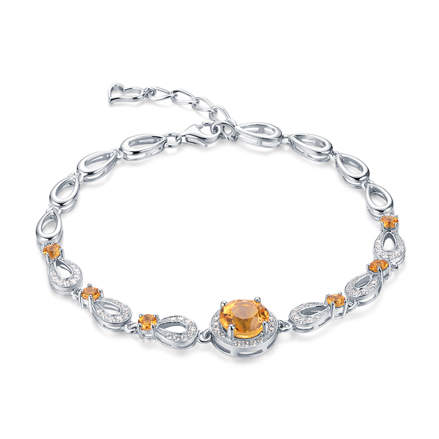 Belle 4.0ct Natural Yellow Citrine Sterling-silver-jewelry Round-shaped Bracelet