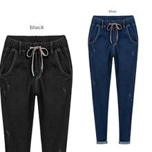 Весна лето женщин свободные джинсы женские шаровары брюки хлопок джинсовые тонкие джинсы прилив женские ноги плюс размер повседневная женщины большой метров