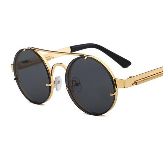 5b6969bc1687 Steampunk Sunglasses Round Gold Frame Metal Gothic mens Sunglasses women Shades  Brand Designer black glasses male