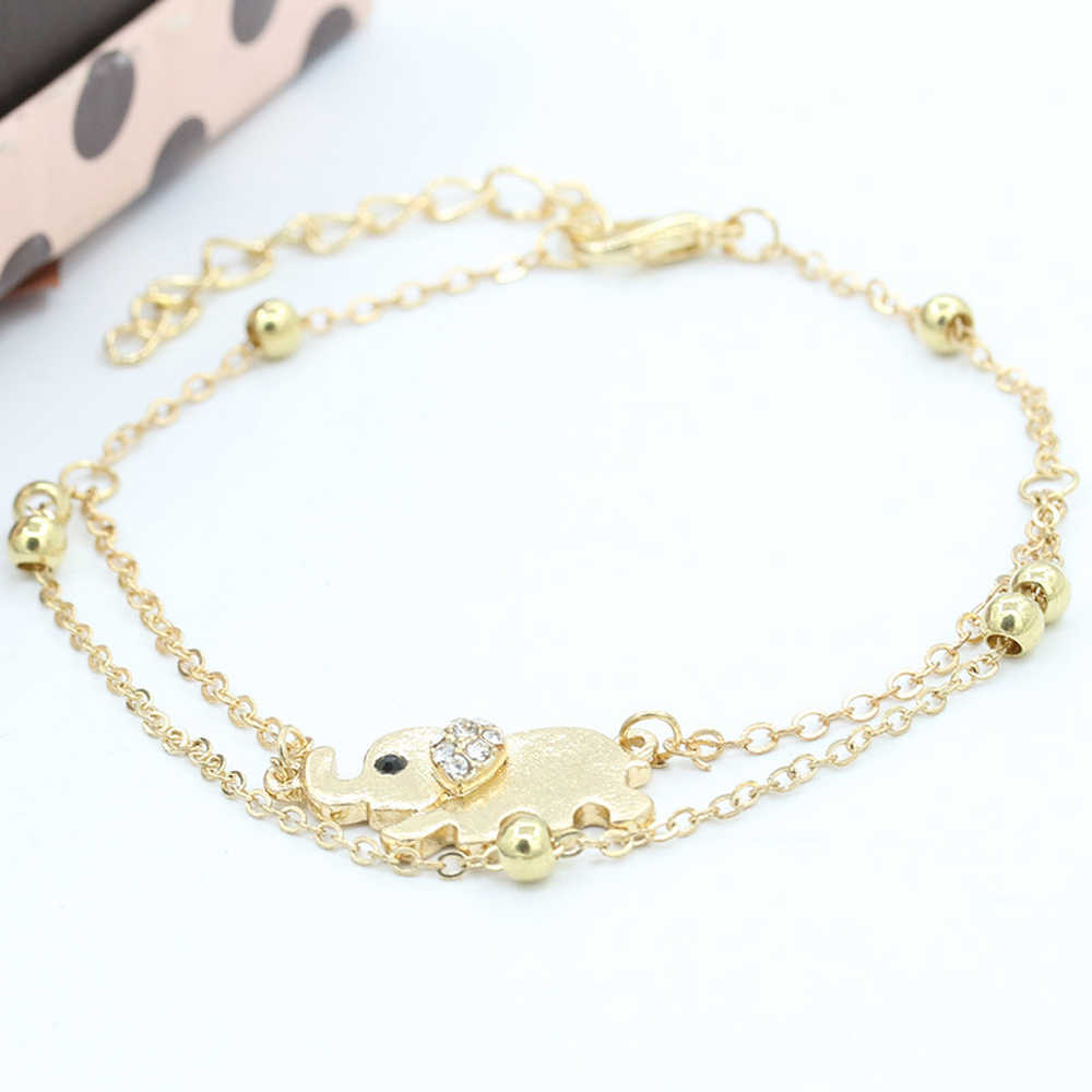 FAMSHIN Sexy Sandalias Beach Rhinestone Elephant From India Barefoot Chain Ankle Bracelet Foot Jewelry Anklets For Women