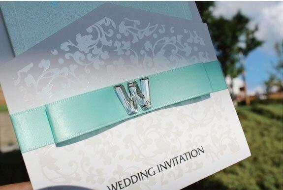 unique elegant design wedding invitations with ribbon pocket