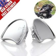 2 шт. Мотоцикл Серебристый Хром Ручка Бар Конец Бок Зеркала Заднего Вида Для Fit Harley Davidson Street Glide Позже США Доставка #6829