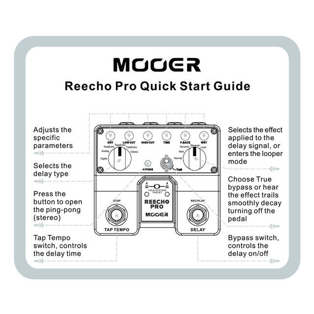 US $73 05 30% OFF MOOER Reecho Pro Digital Delay Guitar Effect Pedal Twin  Footswitch with 6 Delay Effects Loop Recording (20 Seconds) Function-in