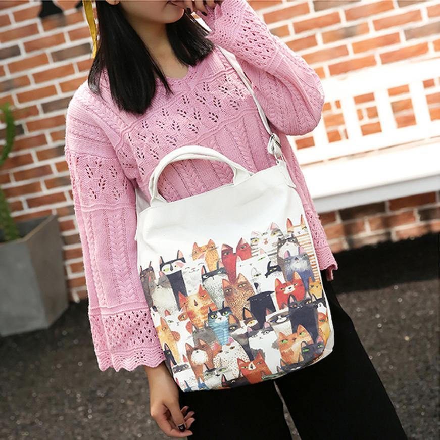 Женская мода холст с рисунком кота плечо мешок Ms. однотонная одежда пряжки большой Ёмкость сумка пляжная сумка # F