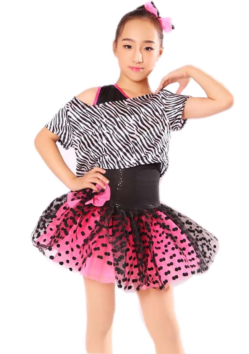 Women Gilr Contemporary Ballet Dance Dress Stage Performance Dance Costumes Zebra Pattern Professional Dance Tutu