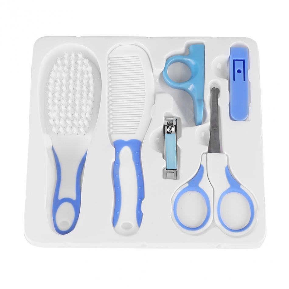 6pcs/set Baby Nail Clipper Convenient Daily Baby Nail Clipper Scissors Hair Brush Comb Manicure Care Kit Baby Nail Care Products