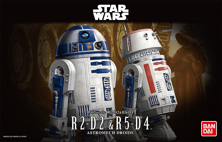 Free Shipping 2015 New 2pcs/lot Genuine Bandai 1:12 Scale Star Wars R2-D2 and R5-D4 Plastic Model Building Kits DIY Toys