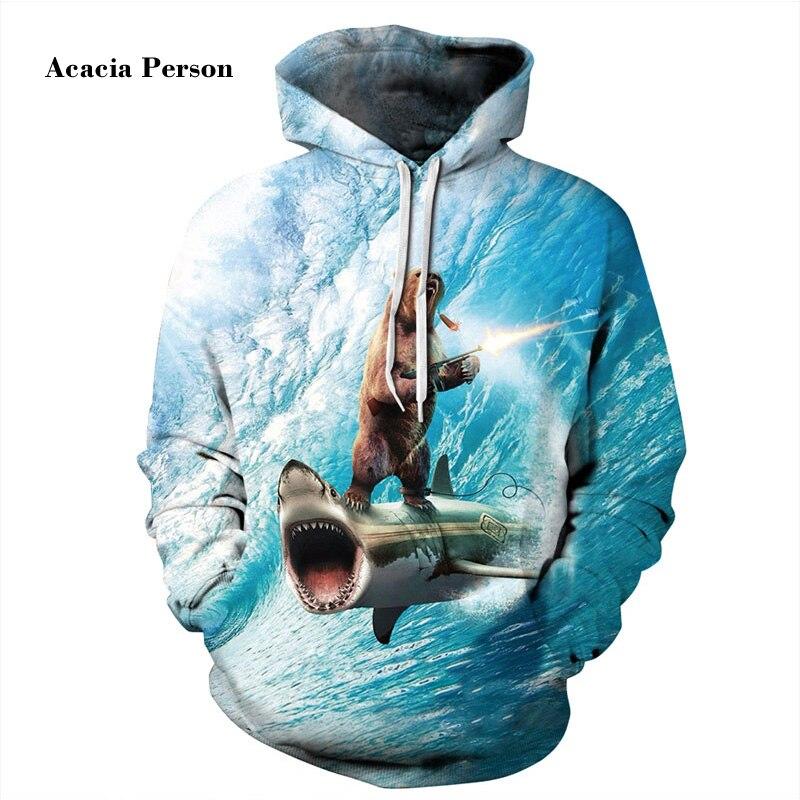 Acacia человек забавные модные толстовки с капюшоном Для мужчин/wo Для мужчин 3D кофты цифровой печати медведь стоя на акулы тонкие Толстовки с к...