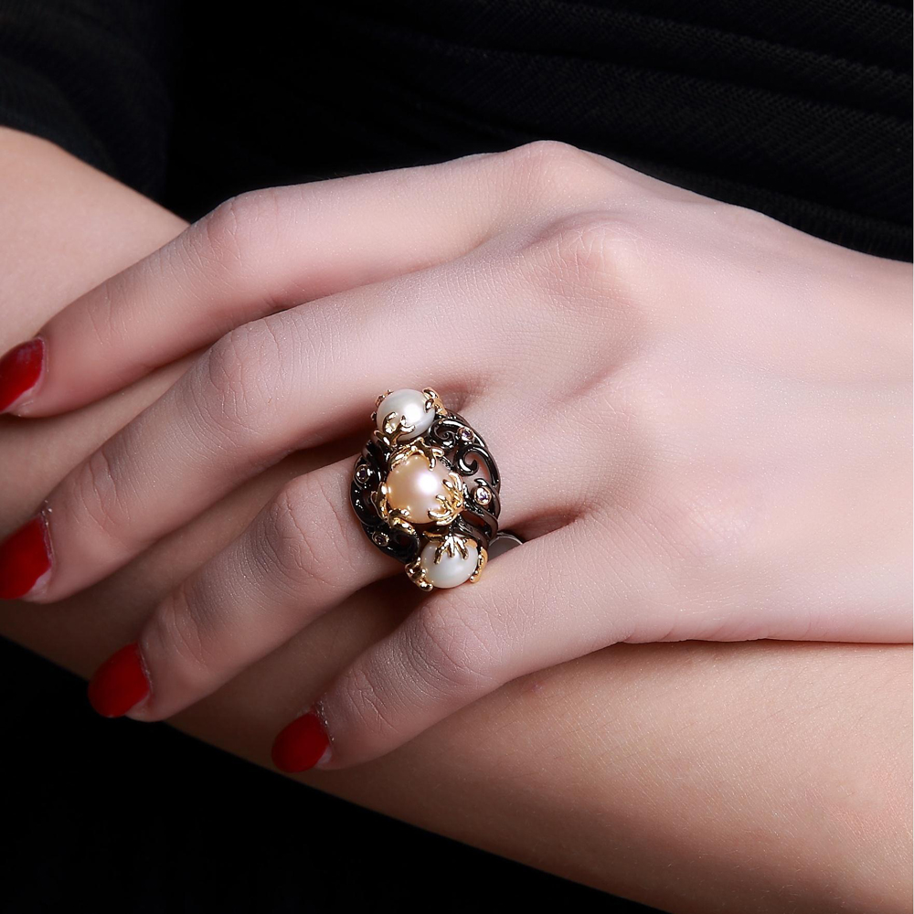 Natural Freshwater Pearl font b Ring b font 2 Tone Plate by Black and Gold with