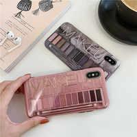 Make-up lidschatten palette handy fall für iphone XS Max XR XS für iphone 6 6s 7 8 plus glänzend weiche silikon fall