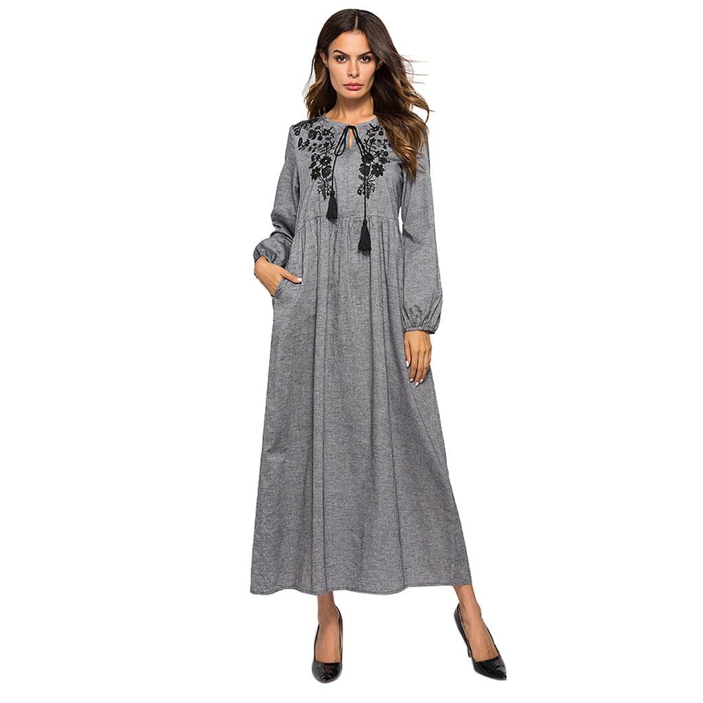 Women Dubai Muslim Cotton O-Neck Long Sleeve Embroidered Arab Dress Islam Abaya Jilbab Dress Muslim Women 2019 New Arrivals
