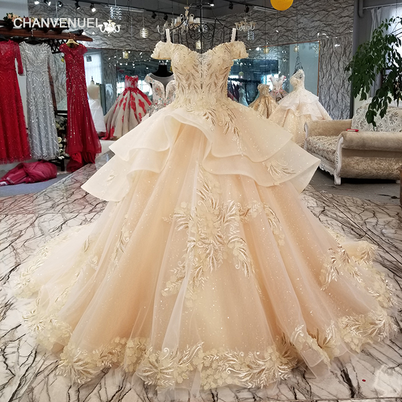 Evening Dresses Ls94451 Lace Flowers Champagne Beauty Evening Dress V-neck Off Shoulder Lace Up Back Party Dress With Long Train Quick Shipping Discounts Price