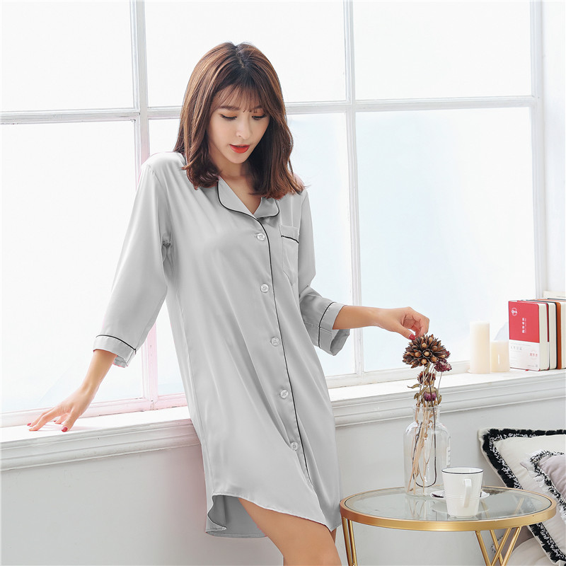 Women's Nightshirt Satin Silk Sleepwear Sexy Female Nightgown Home Dress Solid Nightwear For Women Sleep Lounge