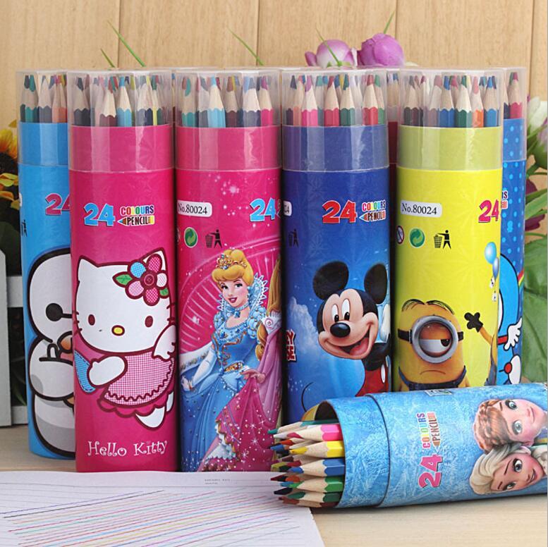 Шығармашылық мультфильм түрлі-түсті қарындаш картридж 12 түстер 24 түрлі-түсті бояулар
