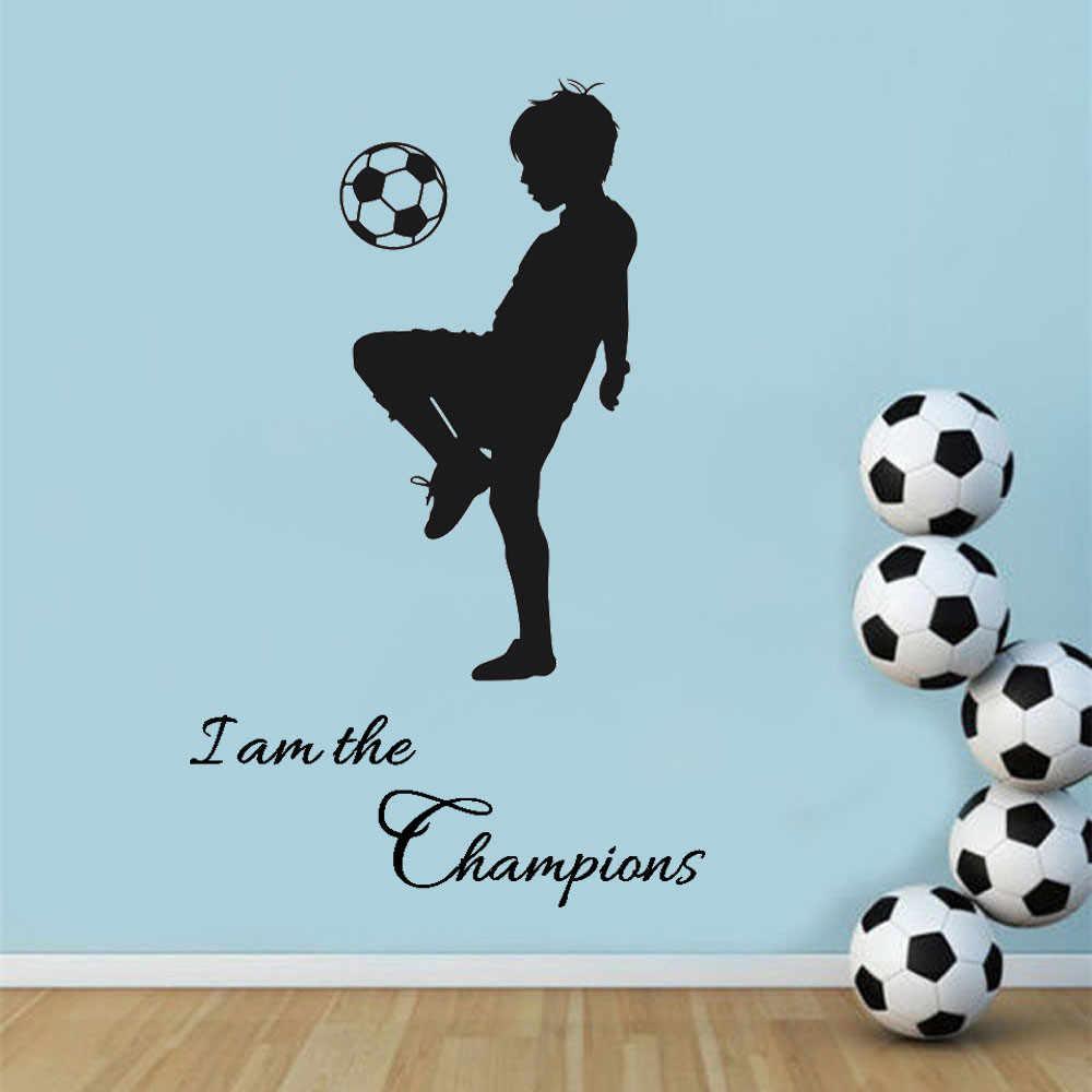 I am The Champions PVC สติ๊กเกอร์ติดผนังตกแต่งบ้าน DIY Art สำหรับห้องพักเด็กฟุตบอลรูปลอก Self-adhesive home Room Decor
