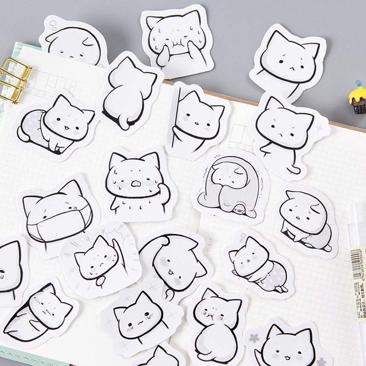 Crying Meow Cat Pet Stickers Adhesive Stickers DIY Decoration Stickers Diary Label Stickers Pack Decorative Scrapbooking lovely panda animals stickers adhesive stickers diy decoration stickers