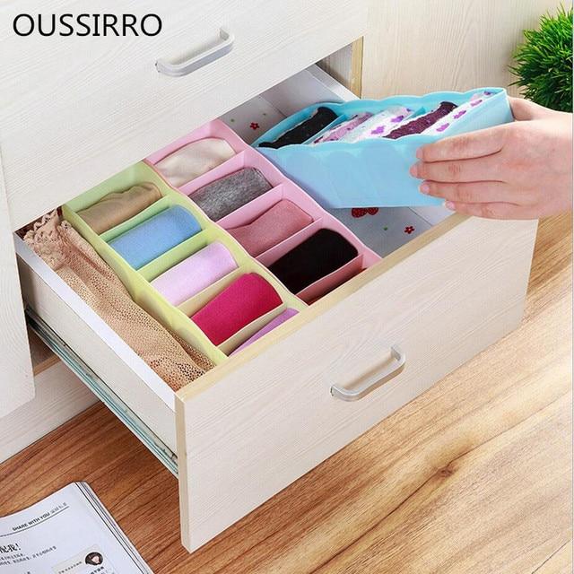 New 2017 OUSSIRRO Fashion 1 X 5 Cells Plastic Organizer Underwear Storage  Box For Tie Bra