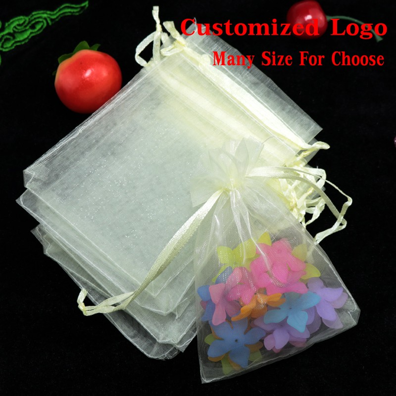 1000pcs Ivory Organza Bag 7x9cm Jewelry Gifts Package Bag Wedding Christmas Candy Packaging Bag Drawstring Gift
