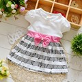 Moda Infantil Kids Baby Girls Printed Bow Vestido de Manga Corta Princesa Tutu Dress Party MT746
