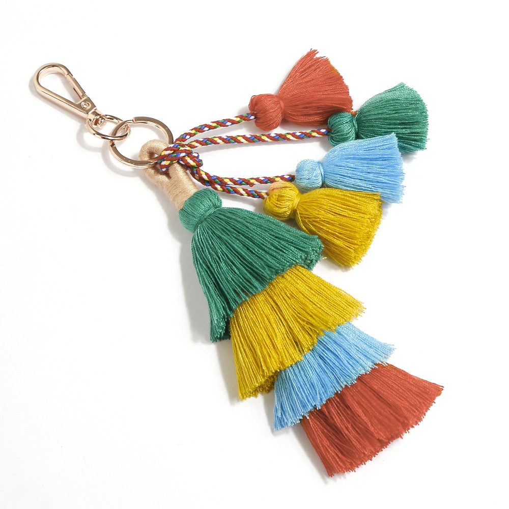 Hot Sale Vintage Boho KeyChain Multilayer Tassel Pendant Women Bag Hanging Ornament Woven Keychain Women Accessories Wholesale