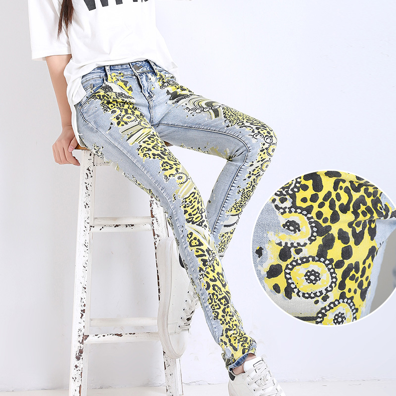 Slim Elastic jeans woman Casual White Pencil jean pants Girl Washed printing Pattern jeans Skinny Long womens Capris Female