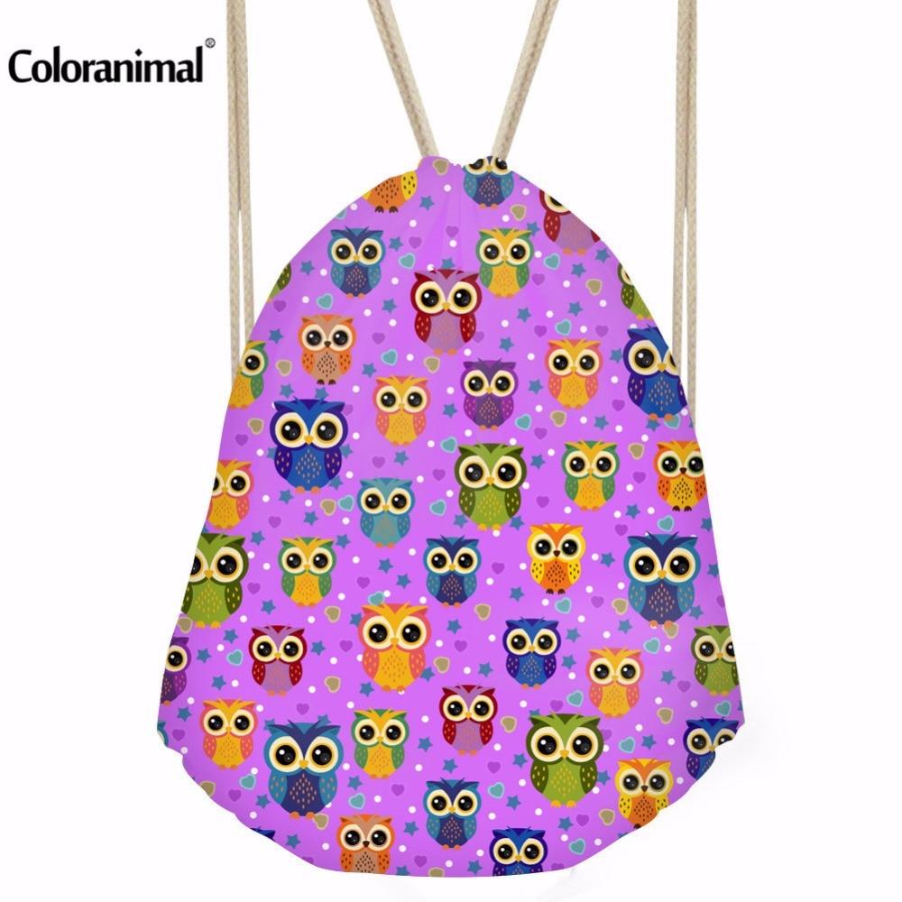 Coloranimal Casual Cartoon Owl Cat Print Drawstring Bags Ladies Teenager Travel Shopping Bag Children Girls Daily Picnic Bags