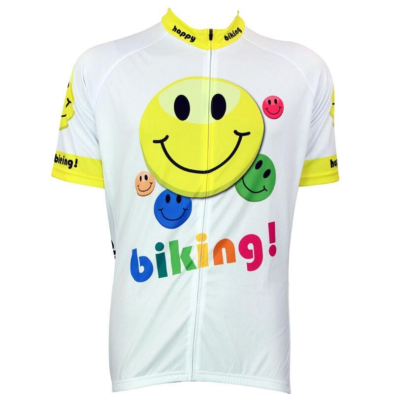 Spor ve Eğlence'ten Bisiklet Formaları'de Alien Spor Mutlu Bisiklet Smiley Desen Erkekler Kısa Kollu Bisiklet Formaları Beyaz Nefes Bisiklet Kıyafetleri Ciclismo Boyutu XS 5XL title=