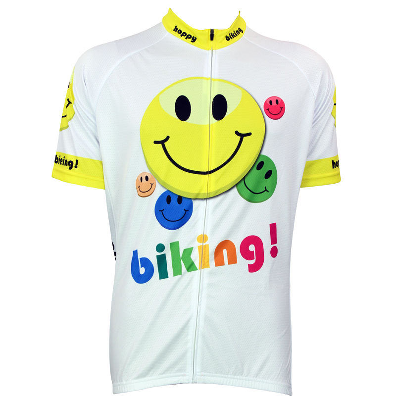 Alien SportsWear Happy Biking Smiley Pattern Men Short Sleeve Bike Jerseys White Breathable Cycling Clothes Ciclismo