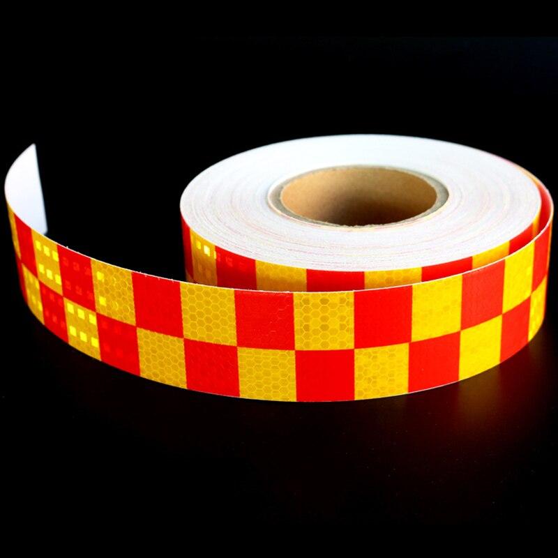Двойной Цвет красный желтый шахматная доска решетки Светоотражающие Клейкие ленты автомобиля Стикеры автомобиль грузовой автомобиль мото...