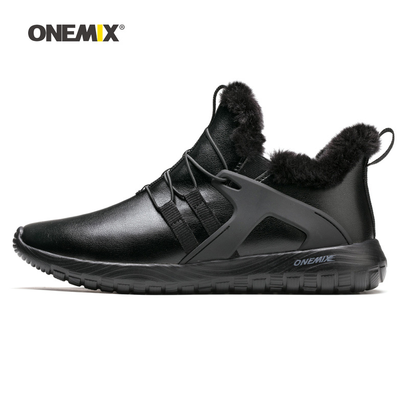 Man Running Shoes for Men Black Winter Snow Boots Wool Leather Jogging Trail Sneakers Outdoor Sport Trekking Walking Trainers ifrich big size running shoes for men spring autumn sport walking sneakers leather mens trainers brand black white trail shoes