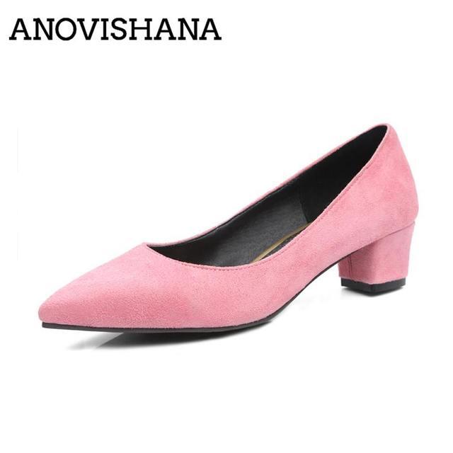ANOVISHANA/женские туфли лодочки; модельные туфли лодочки; женские туфли лодочки из флока на высоком каблуке с острым носком; сезон весна осень; zapatosD049; размеры 47