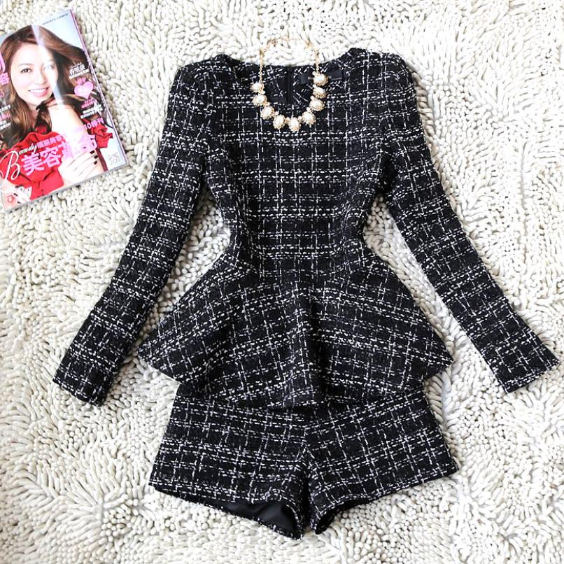 Ladies Plaid Long-sleeved Woolen Coat