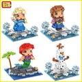 Loz diamond bloques assemblage micro diy juguetes de construcción de bloques de dibujos animados anna olaf figura subasta girls regalos de navidad 9497-9500